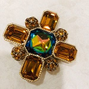 St John STATEMENT brooch in yellow, green crystal
